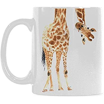 Amazon.com: InterestPrint 11 Ounce White Ceramic Watercolor Giraffe ...