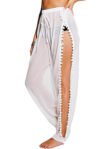 dc8b5c241403f LOSRLY Women Chiffon Pom Pom Beach Touser Bikini Bottom Cover up High Split  Beachwear Long Pants at Amazon Women's Clothing store: