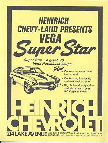 Amazon Com 1973 Chevrolet Vega Heinrich Super Star Brochure