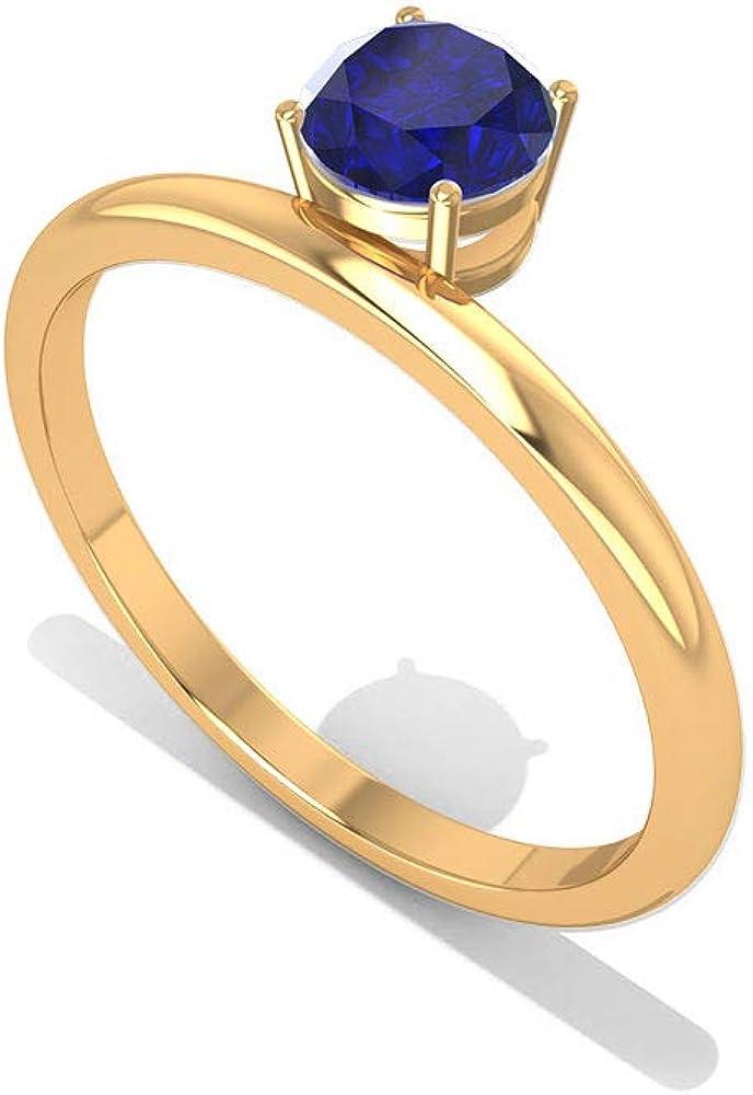 Anillo de compromiso con solitario de zafiro azul de 0,65 quilates, certificado SGL, anillo de boda de novia con piedra natal de septiembre, anillo de compromiso de oro, anillo de aniversario