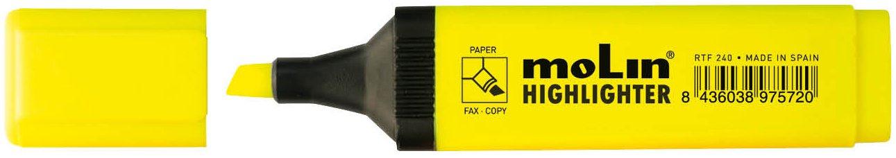pack de 10 uds. Molin RTF240-10-1 color amarillo Marcador fluorescente