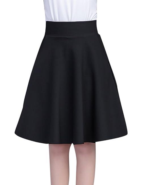 Faldas Corto Cintura Alta Falda Plisada Vestidos de Fiesta Corto Negro 2XL