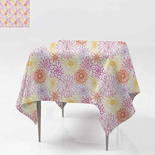 DUCKIL Elegant Waterproof Spillproof Polyester Fabric Table Cover Blossom Spa Gardening Theme Flower Petals Essence Bouquet Art Indoor Outdoor Camping Picnic W60 xL60 Pale Yellow Dark Coral Fuchsia