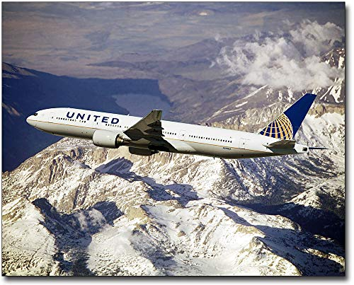 United Airlines Boeing 777-200 Over Mountains 30x40 Silver Halide Photo Print