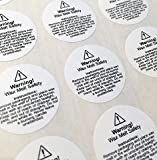 54 wax melt usage safety stickers - required by law (small, 29mm circles) by Unknown