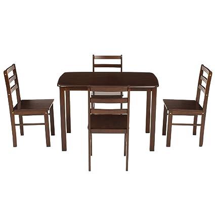 Woodness 28042 4 Seater Dining Table Set (Matte Finish, Wenge)
