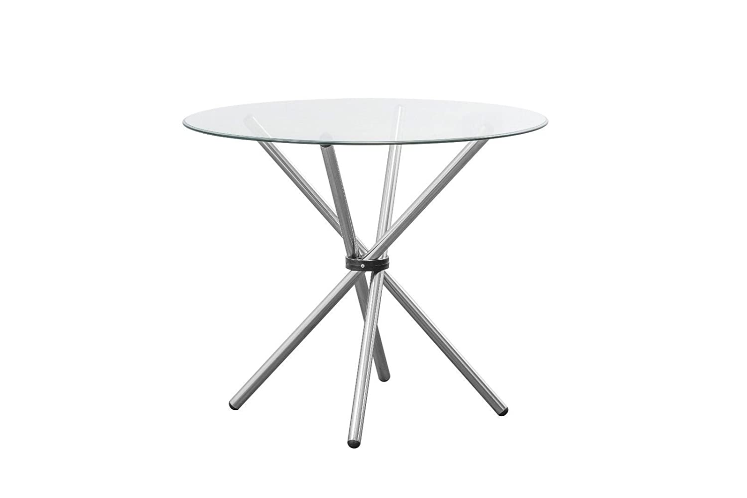 bee furniture Contemporary Modern Round Dining Table Tempered Glass Polished Chrome Legs H75cm x W90cm Free UK Mainland Delivery 12391 bee.furniture