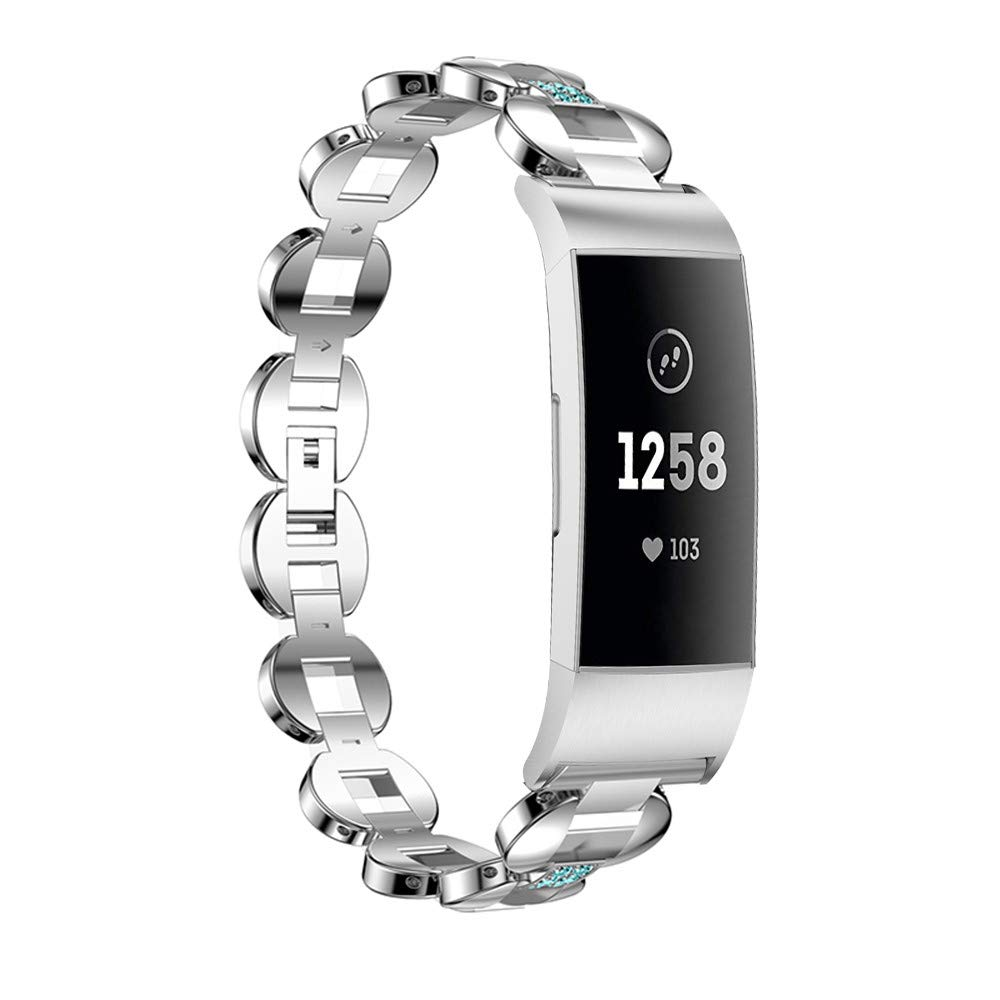 Hatoys Link Metal Bracelets Replacement Adjustable Straps Crystal for Fitbit Charge 3