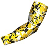 B Driven Sports Compression Arm Sleeves, Pro-Fit Compression Design , Yellow, Black Flaked Camouflage Pattern, Adult XS, Many colors and sizes Inc. youth and adult XS, S, M, L, XL, Sold as 1 SLEEVE