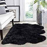 "Cheap Safavieh Sheepskin Collection SHS121C Genuine Sheepskin Pelt Midnight Black Premium Shag Rug (3'7″ x 5'11"")"