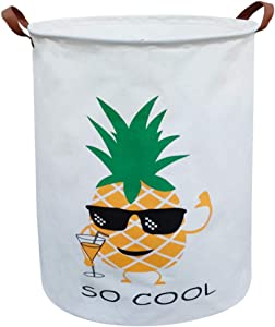 ASKETAM Laundry Basket,Canvas Fabric Laundry Hamper,Dirty Clothes Storage Bin,Collapsible Toy Organizer for Office,Bedroom, Clothes,Toys,Gift Basket(Pineapple)