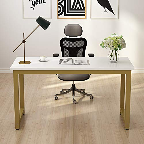 Tribesigns Modern Computer Desk, 55 inches Large Office Desk Computer Table Study Writing Desk for Home Office, White Gold Metal Frame (Modern White Desk Computer)