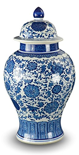 "20"" Classic Blue and White Porcelain Floral Temple Jar Vase, China Ming Style, Jingdezhen"