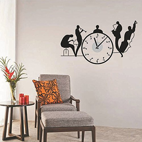 Winhappyhome Symphony Orchestra Casual Clock DIY Wall Stickers Children Living Room Bedroom Home Decor Sticker (Battery is Not Included)