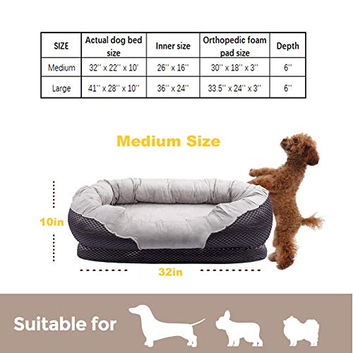 Pet Deluxe Dog and Puppy Bed, Grooved Orthopedic Foam Beds with Removable Washable Cover, Ultra Comfort, Padded Rim Cushion, Nonslip Bottom, for Dogs Puppies