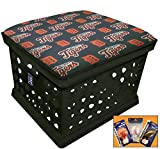 Black Utility Crate Storage Container Ottoman Bench Stool for Office/Home/School/Preschools with Your Choice of a Baseball Team Seat Cushion, Decal and a FREE Nightlight! (Tigers)