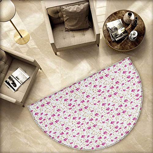(Flower Semicircular Cushion Peony in Vintage Style Girly Sweet Curly Stems Happy Times Engagement Theme Entry Door Mat H 70.8