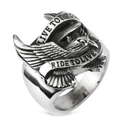 (10MM Polished Stainless Steel Biker Ring With Eagle and
