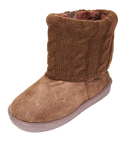 Price comparison product image Happy Bull Baby Toddlers Girls Winter Snow Boots Warm Faux Suede Shearling Knitted Top Short Bootie (1410 in) Coffee 4