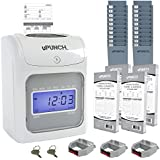 Time clocks amazon office school supplies time clocks calculating upunch time clock bundle with 200 cards 3 ribbons 2 time card racks colourmoves