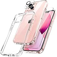 TOCOL 3 in 1 Designed for iPhone 13 5G Case 6.1 inch - with 2Pcs Tempered Glass Screen Protector + 2Pcs Camera