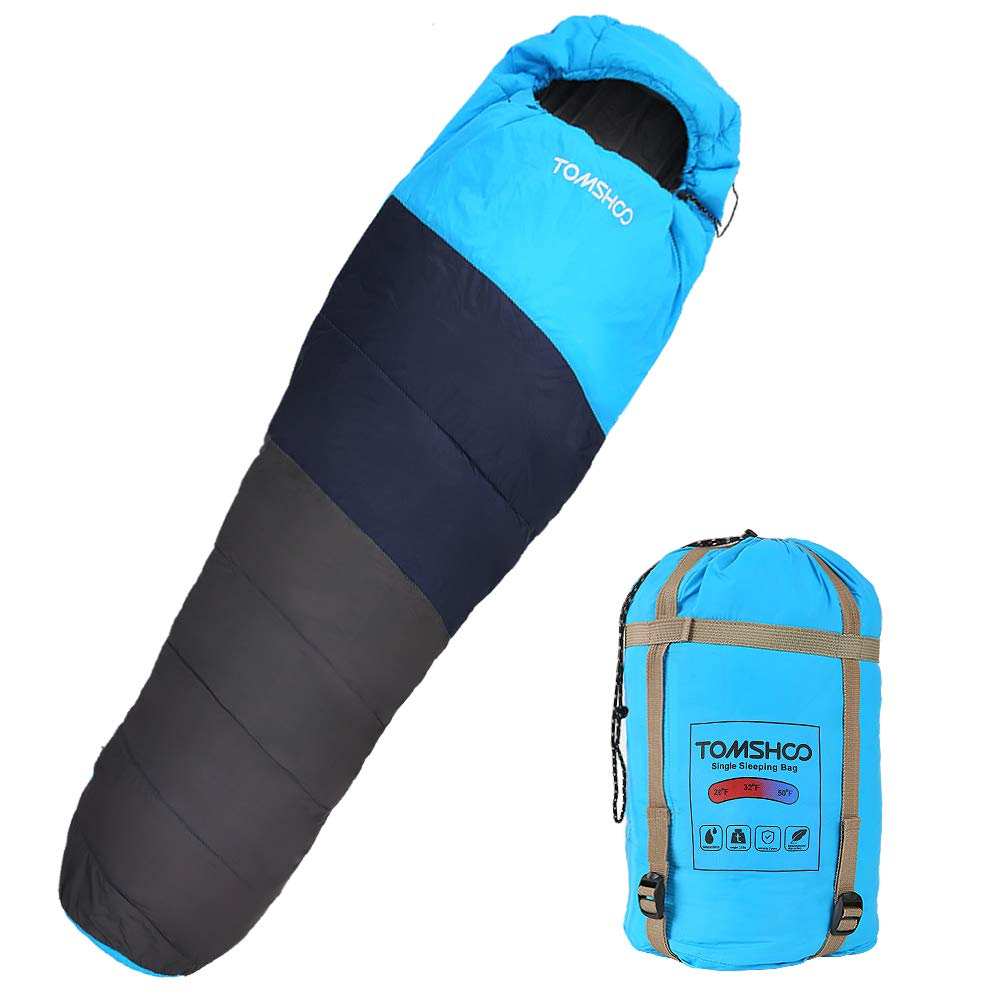 TOMSHOO Saco de Dormir Tipo Momia,Ultraligero Impermeable Portátil con Saco de Compresion, (220 * 80cm) Ideal para Acampar, Excursionismo, Viajes, Mochilero product image