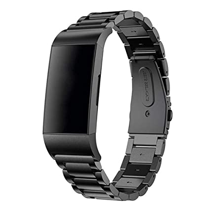 Mtozon Bands Compatible Fitbit Charge 3 Smartwatch, Replacement Stainless  Steel Metal Classic Wristband for Men, Silver, Rose Gold, Black