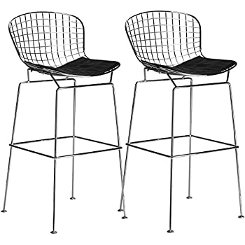 Amazon Com Bertoia Wire Bar Stool Chair 3 White