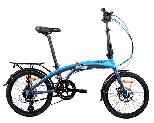Camp Adult Folding Bike for Men Women 20 inch Aluminum 16 Speed Shimano Gears Disc Brake with...