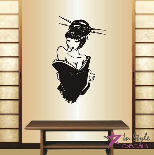 Sexy Geisha Outfits (Wall Vinyl Decal Home Decor Art Sticker Sexy Hot Japaneese Girl Woman Geisha Room Removable Stylish Mural Unique Design)