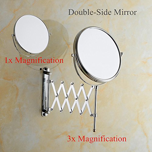 Cavoli 6 Inches Double-sided Wall Mount Scalable Mirror with 3x Magnification,Chrome Finish(6 inch,3x) by Cavoli (Image #4)