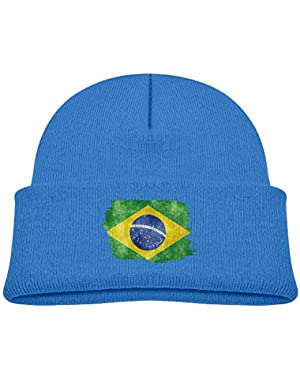 Fashion Brasil Distressed Flag Printed Teething Baby Winter Hat Beanie