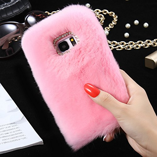 Samsung Galaxy S8 Plus Case, Awsaccy(TM) Fun Deluxe Winter Warm Soft Crystal Bling Case Rabbit Fluffy Furry Hair Fur Scratch Resistant Pretty Case for Galaxy S8 Plus Accessories Girls Women Pink