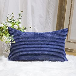 HOME BRILLIANT Decorative Plush Striped Velvet Corduroy Oblong Rectangular Throw Pillow Accent Cushion Cover, 12 x 20 inch, Navy Blue