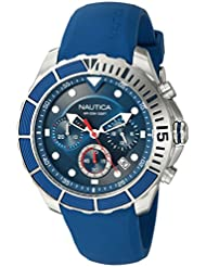 Nautica Mens PUERTO RICO Quartz Stainless Steel and Silicone Sport Watch, Color:Blue (Model: NAPPTR001)