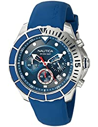 Men's 'PUERTO RICO' Quartz Stainless Steel and Silicone Sport Watch, Color:Blue (Model: NAPPTR001)