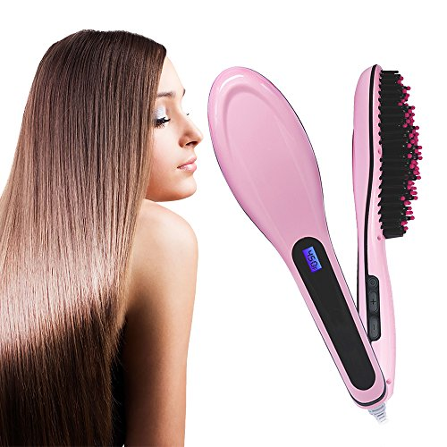 Price comparison product image Dadiii Hair Straightener Brush, Ceramic Heating Hair Straightening Irons Brush for Detangling and Silky Hair Straightening Comb ( LCD Display, Anti-Static, Anti-Scald)