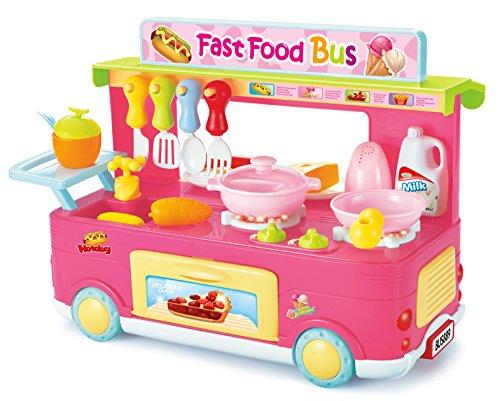 PowerTRC Kitchen Playset Fast Food Bus Kitchen Playset | Pretend Play Foods | Pretend Foods | (Pink)
