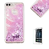 Funyye Liquid Glitter Case for Huawei P Smart,Luxury Pink Sun Flower Sparkly Floating Water Liquid Love Hearts Design Transparent Soft Silicone Gel TPU Case for Huawei P Smart,Ultra Thin Crystal Rubber Durable Shell Bumper Back Protective Case for Huawei P Smart + 1 x Free Screen Protector