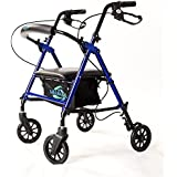 Super Light Rollator Lightweight Aluminum Loop Brake Folding Walker Adult W/height Adjustable Seat By Legs and Arms w/ 6