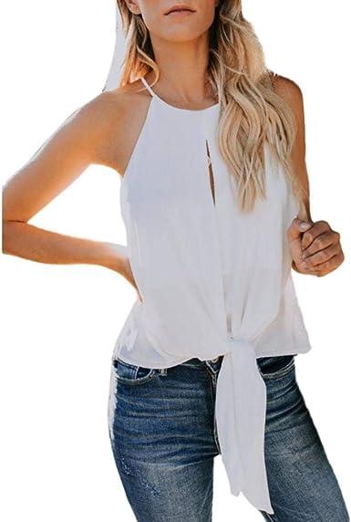 Camisetas sin Mangas Mujer SHOBDW Verano Playa Mar Tops del Chaleco Botón Cultivo De Color Sólido Sexy Camisola Camisa De Cuello Halter Camiseta Suelta para Mujer: Amazon.es: Ropa y accesorios