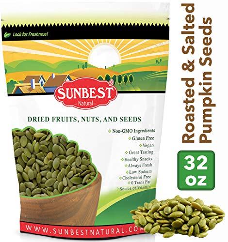 (SUNBEST Sea Salted Pumpkin Seeds - Pepitas Roasted & Salted (No Shell), Pumpkin Seed Kernels (Dry Roasted Sea Salted, 2 Lb))