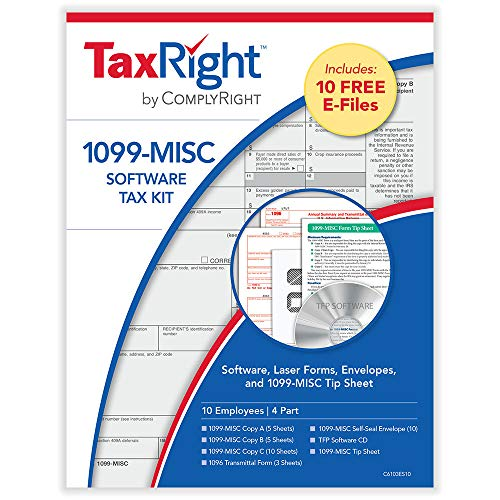 1099 Misc. Laser Tax Kit (4-Part) with Software and Envelopes for 10 Employees