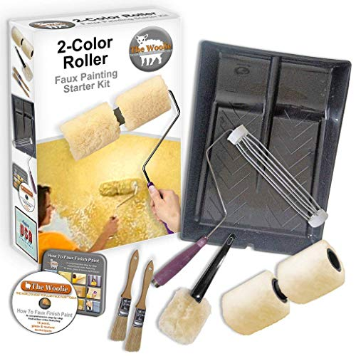 The Woolie Original Dual 2-Color Split Roller Faux Painting Beginner Starter KIT - Sheepskin/Lambswool Dual Roller ()