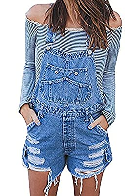 Liyuandian Womens Ripped Overall Shorts Distressed Denim Rompers