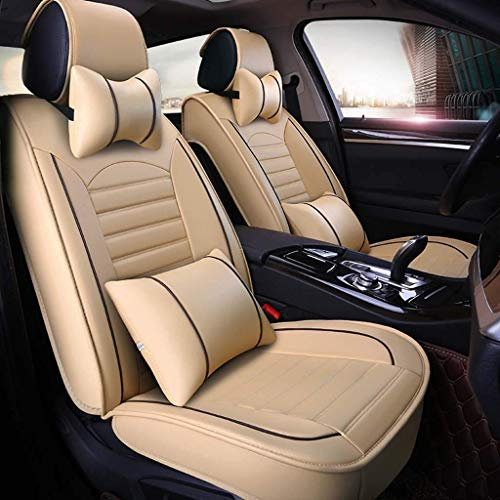 Car seat covers, universal leather, 5 breathable front seats and back seats with cushions (color: beige):