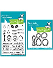 Lawn Fawn Peas on Earth 3x4 Clear Stamp Set and Coordinating Dies (LF2421, LF2422), Bundle of 2 Items