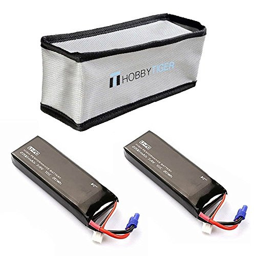 HOBBYTIGER 2 PCS Original Hubsan X4 FPV H501S Lipo Battery 7.4V 2700mAh 10C with Fire Resistant Bag (10c Li Poly Battery)