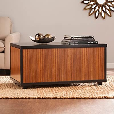 Southern Enterprises Ryecroft Storage Trunk Coffee Table in Zebrawood - Finish: Zebrawood and Black Style: Contemporary Transitional Lid lifts to reveal expansive storage - living-room-furniture, living-room, coffee-tables - 51W72l%2BG9FL. SS400  -