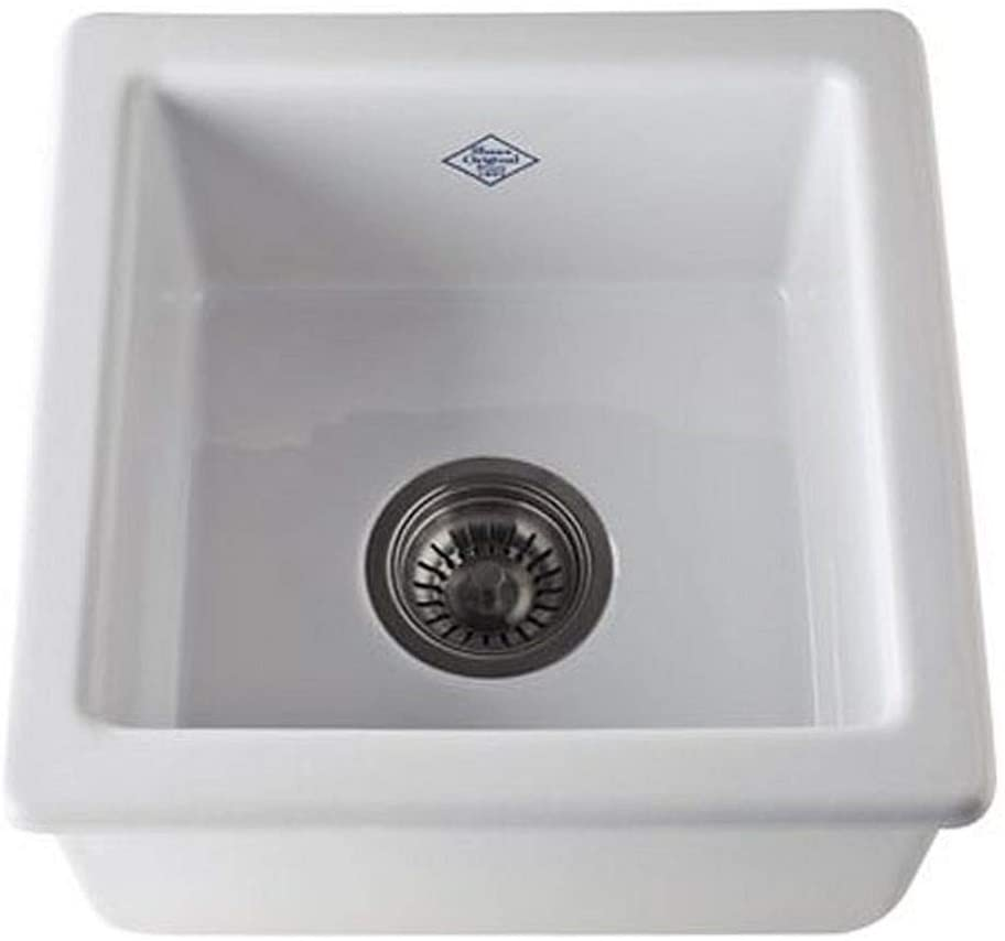 Rohl RC1515WH FIRECLAY KITCHEN SINKS, 15-Inch by 15-Inch by 7-17 32-Inch, White